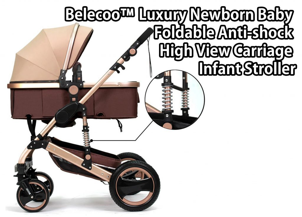 Belecoo™ Luxury Newborn Baby Foldable Anti-shock High View ...